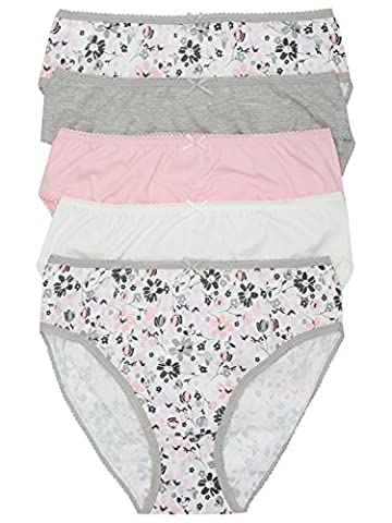 M&Co Ladies Everyday Cotton Mixed Plain And Floral Print High Leg Briefs 5 Pack Grey 10/12