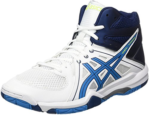 Asics Herren Gel-Task Mt Volleyballschuhe, Weiß (White/Blue Jewel/Safety Yellow), 45 EU