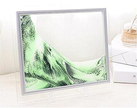 Deerbird® Green Sand Malerei Medium Größe Moving Grit Bild mit Rechteck Glas Rahmen Abstrakt Landschaften für Zuhause Büro Décor - 7 Zoll