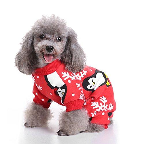 S-Lifeeling Weihnachten Schneeflocke Pinguin Hund Kostüme Urlaub Halloween Weihnachten Haustier Kleidung Angenehm Weiches Hund Kleidung, Back length11.4 (Extra Halloween-kostüme Hund Kleine)