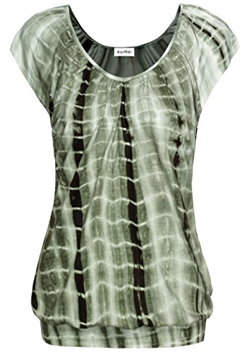 KorMei Damen Tops Casual Kurzarm Falten Stretch Tunika Jersey T-Shirt Tie Dye Grün L (T-shirt Tie Grüne Damen Dye)