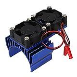 BQLZR Dark Blue Aluminum 540 550 Motor Heatsink N10113 with 2 Fans for RC 1:10 Car
