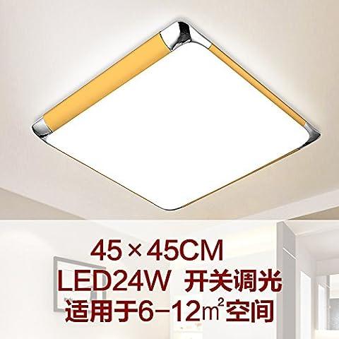yxhflo LedCeiling rectangulaire lampe salon distant palette de couleurs gradation chambres moderne minimaliste,Lampes Lc1458-45*gradation interrupteur couleur champagne 45