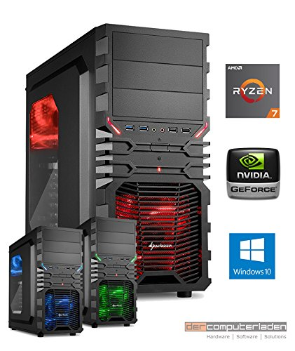 Gamer PC System AMD, 7-1800X (Ryzen) 8x3,6 GHz, 16GB RAM, 2000GB HDD, nVidia GTX1080 -8GB, inkl. Windows 10 (inkl. Installation) Gaming Computer Büro Multimedia dercomputerladen