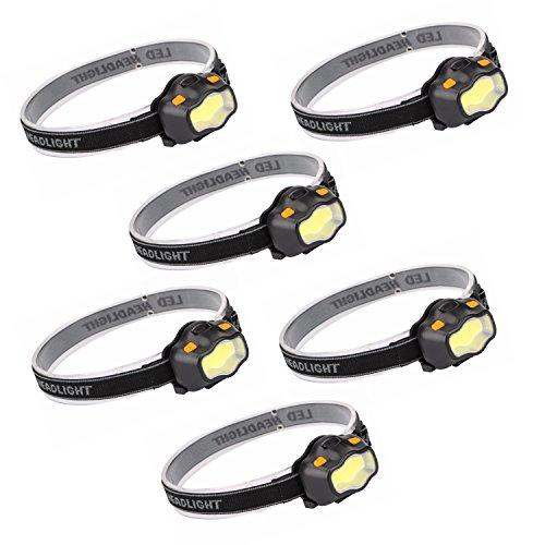 Kurtzy 6 Linterna Frontal LED Linterna de Cabeza Luz Frontal Lampára - 3 Modos Impermeable para Camping Pesca Ciclismo Carrera Caza 3 Pilas AA Incluidas