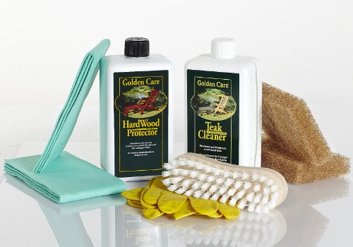 Golden Care GOLDEN CARE Hardwood Protector + Cleaner Holzpflegeset 8tlg. Holz Hartholz z.B. Eukalyptus und Akazienholz Reiniger Holzschutz Holzpflege für Gartenmöbel