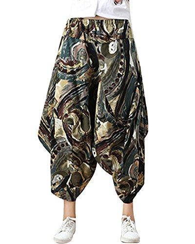 MISSMAOM Taglia Unica Pantaloni alla Turca Donna e Pantaloni Cavallo Basso Uomo con Stampe E Motivi Etnici L Abbigliamento Etnico Stile 1