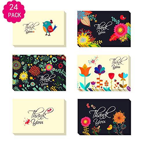 Bunte Blumen und Vogel danken Ihnen, Zusammenstellungs-Satz, Satz von 24 leeren Karten mit den Umschlägen zu kardieren, die für Hochzeiten, Staffelung und Babypartys perfekt sind