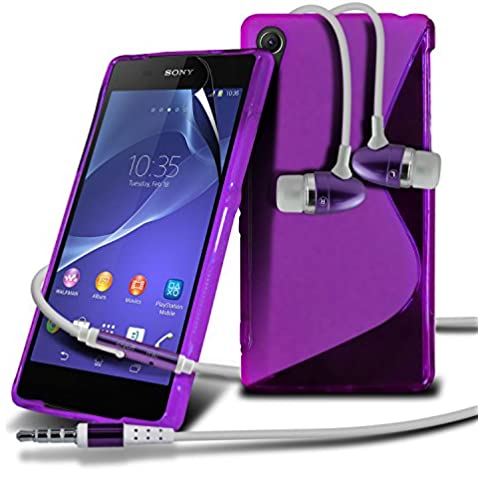 Sony Xperia Z2 Purple Premium Stylish Design Piel de la cubierta del gel S Line Wave Con LCD Protector de pantalla, paño de pulido y manos libres de auriculares con micrófono Mic y botón de encendido y apagado by ONX3