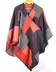 MZMZ ULTRA apretado el cuello BMBAI cálido invierno) lado de la mujer de la carretilla elevadora cachemir mantones rejilla de pegado manto rojo y negro