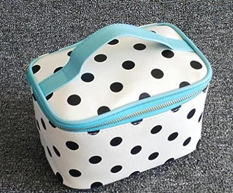 HOYOFO Hndle Round Dot Large Cosmetic Bag Travel Makeup Organizer Case,Blue