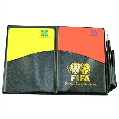 Este cuero de la FIFA Árbitro carpeta con las tarjetas está hecho de un cuero sintético muy resistente y contiene tarjetas amarillas y rojas. La cartera encaja perfectamente dentro de un jersey o pantalones cortos bolsillos. Las tarjetas son muy fáci...