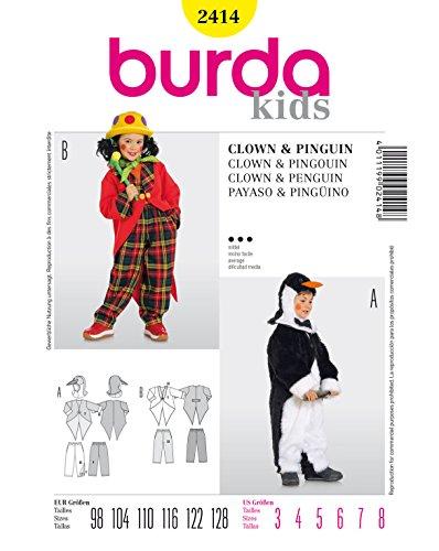 Schnabel Kostüm Pinguin - Burda 2414 Schnittmuster Kostüm Fasching Karneval Clown & Pinguin (Kids, Gr. 98-128) - Level 3 mittel