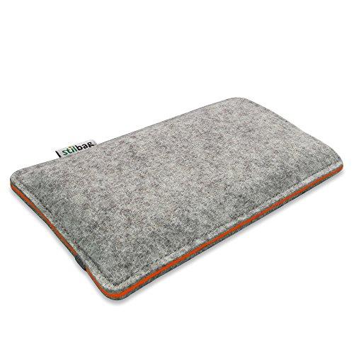Stilbag Filztasche 'FINN' für Apple iPhone 7 plus - Farbe: hellgrau/violett hellgrau/orange
