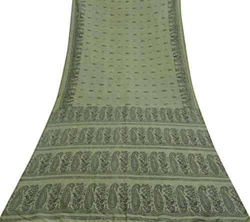 Vintage Indian Green Saree Baumwolle Seide Paisley Printed Ethnische Craft Gebrauchtstoff