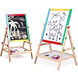Kurtzy Magnetic Black and White Board Double Sided Wooden Kids Drawing Easel