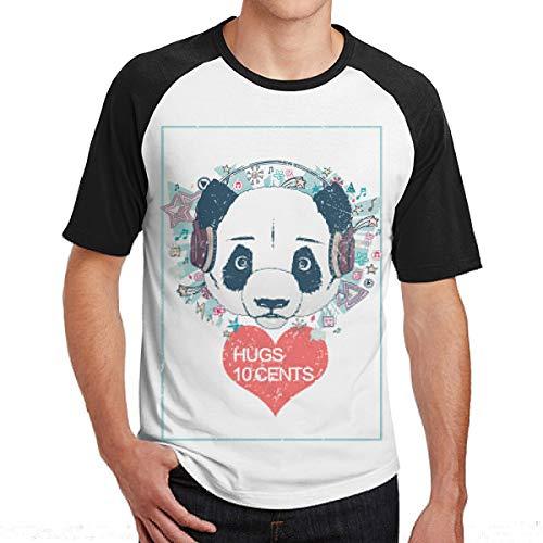 Mode Panda Liebhaber Valentinstag Umarmungen 10 Cent Männer Kurzarm Baseball T-Shirts Liebe Website Dating Site T-Shirt Männer Urlaub Mittelstücke Herren Tops Schwarz S
