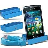 Spyrox (Baby Blue)Samsung S8600 Wave 3 Micro Desktop USB Charging Dock Mount Stand & Micro USB portatile / PC sincronizzazione di dati del cavo di carico
