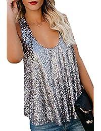 f6fcbc65d5aae Mujeres Verano Lentejuelas Camisetas sin Mangas Camisas Casual Paillettes Camiseta  Top