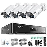 [1920 * 1080P HD] SANNCE Kit Sistema de 4 Cámaras de Vigilancia Seguridad (Onvif H.264 CCTV NVR P2P 4CH 1080P y 4 Camaras IP 2MP IP66 Impermeable IR-Cut Visión Nocturna Hasta 20M)-sin HDD