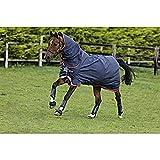 Horseware Amigo Bravo 12 Plus Lite 100g mit Halsteil Disc Navy/Gold 3 Bauchgurte (145)