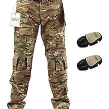 Pantalones tácticos, QMFIVE Pantalones de combate Camo Combat BDU Pantalones de combate con rodillera para Ejército táctico Airsoft Paintball