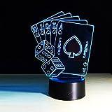 LGZOOT Luce Notturna A Led3d Poker Regali Illuminazione Da Comodino Creativo Lampade Da Tavolo Di Compleanno Occhiali A LED Luci Visive,Touch