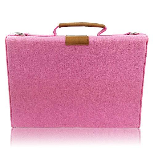 Venetto Businesstasche Umhängetasche Aktentasche Arbeitstasche Handtasche Herren Damen Unisex Filztasche Tasche aus Filz mit Schultergurt mit Echtleder-Applikationen (Schwarz meliert) Pink
