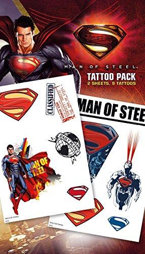 (GB Eye Ltd, Superman Man of Steel, Cartoon, Set von tattuagio vorübergehende)