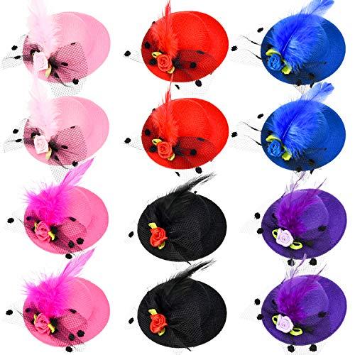 Kostüm Mädchen Rost - Patelai 12 Stücke Mädchen Haarspange Mini Hut Fascinator Haarspange mit Band Blumen Faux Feder Mesh Bogen Haarspange Haarnadel für Mädchen Kleinkind Kostüm Zubehör, 6 Farben