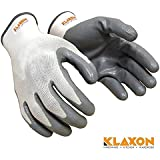 Klaxon Nylon Safety Hand Gloves (White and Grey, Pair of 1)