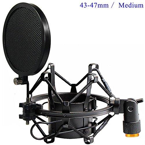 Tencro 43-47mm Mikrofon Shock Mount mit Doppel-Mesh-Pop-Filter & Schraube Adapter, einstellbare Anti Vibration High Isolation Metall Mikrofon-Halterung Halter Clip für Durchmesser von 43-47mm Mikrofon -