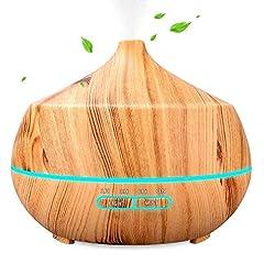 Idea Regalo - 400ml Diffusore di Oli Essenziali, Diffusore di Aromi con 7 colori LED selezionabili,Umidificatore Camera da Letto a 10 Ore di Lavoro, Purificatore Aria a Basso Rumore, Senza BPA, Giallo