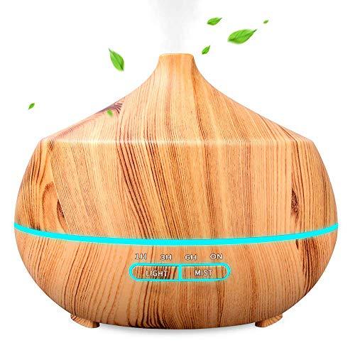 400ml diffusore di oli essenziali, diffusore di aromi con 7 colori led selezionabili,umidificatore camera da letto a 10 ore di lavoro, purificatore aria a basso rumore, senza bpa, giallo