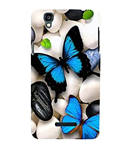 Fuson Premium Back Case Cover Colourful Butterflies With Red Background Degined For YU Yureka::Micromax Yureka AO5510