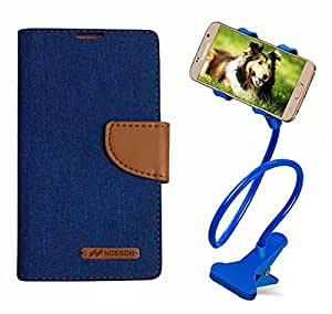 Aart Fancy Wallet Dairy Jeans Flip Case Cover for Apple6G (Blue) + 360 Rotating Bed Moblie Phone Holder Universal Car Holder Stand Lazy Bed Desktop by Aart store.