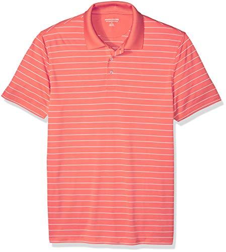 Amazon Essentials Slim-Fit Quick-Dry Stripe Golf Polo Shirt Poloshirt Herren, Coral, US (EU XL-XXL) - Dry Golf Polo