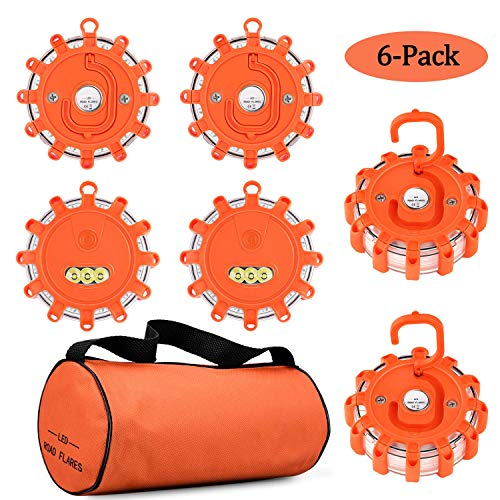 Tobfit LED Warnleuchte 6 Pack Notscheibe Beacon Sicherheitsflare Blinkende Warnleuchte Magnetfuß und Haken, für Auto LKW Boot (6)