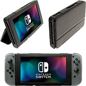 igadgitz Schwarz Portfolio PU Leder Flip Tasche für Nintendo Switch Hülle Case Cover mit Faltbarer Stand