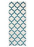 Carpeto Läufer Teppich Modern Türkis 80 x 300 cm Marokkanisches Muster Kurzflor Furuvik Kollektion