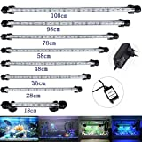 DOCEAN 78CM Aquarium Lampe Beleuchtung 9.8W 5050SMD Weißlicht & Blaulicht Lighting 45 LEDs(23 Weiß +22 Blau) Leuchte mit EU Stecker Licht Wasserdicht für Fisch Tank