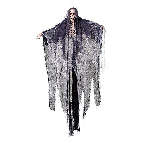 Bristol Novelty hi246bis Skelett und Tuch, grau/weiß/schwarz, eine Größe (Halloween-party Scary Deko-ideen)