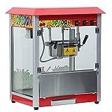 Kitechildhrrd Retro 1400W Popcornmaschine Popcornmaker Popcornautomat Elektrisch Kommerziell Popcorngerät Heißluft Popcorn Maker Fettfrei Ölfrei XL Dach Rot Kino 54 x 40 x 64CM