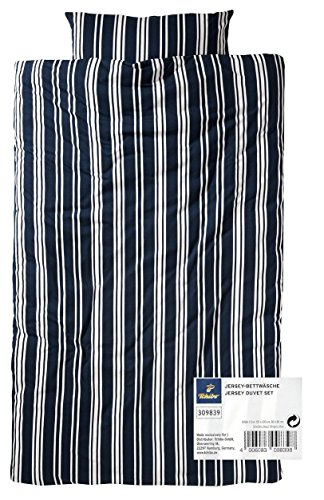 TCM Tchibo Jersey Bettwäsche Garnitur 2tlg. Blau od. Rot gestreift ÜG 155 x 220 cm (Blau-weiß gestreift) (Bettwäsche Bio-jersey)