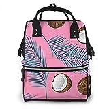Borsa da viaggio multifunzione, zaino per pannolini, borsa per la scuola, grande capacità, impermeabile e dal design elegante, con foglie tropicali rosa di cocco