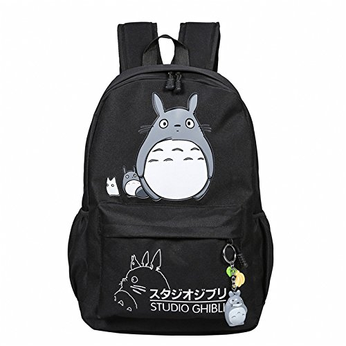 Unbekannt Scoll My Neighbor Totoro Studenten Rucksäcke Anime Cartoon Umhängetaschen Teens Mädchen Schultasche, Schwarz Design Sidekick Shell