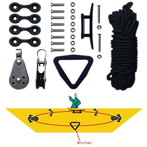kayak-canoe-anchor-trolley-kit-sistema-pulley-cleat-pad-anillo-anillo-cuerdas