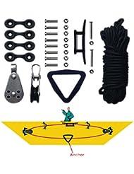 Kayak Canoe Anchor Trolley Kit Sistema Pulley Cleat Pad Anillo Anillo Cuerdas