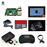 Angelelec DIY Open Sources, Raspberry Pi 3 Model B+ 7 inch Touch Screen+Mount+HDMI Cable+Keyboard+Case+Fan+Heatsinks+EU Power+16 GB SD Card.