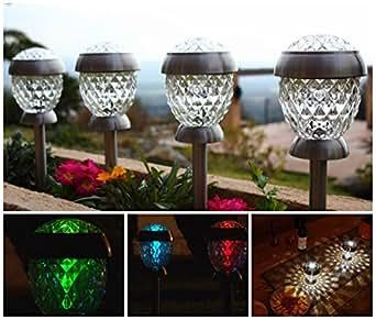 solithia 4er set solarleuchten kristall edelstahl glas. Black Bedroom Furniture Sets. Home Design Ideas